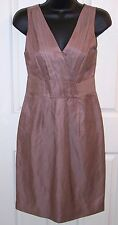 Banana Republic Dress Cocktail Wedding Taupe Rayon Linen Fully Lined 0P