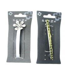 2 x lang 10.2cm Barret Haarspangen Silber und grün beide geliefert