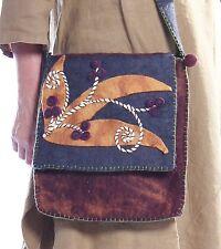 RISING TIDE Applique Brown Felted Wool Handbag Messenger Bag Purse  *H209B*  NWT