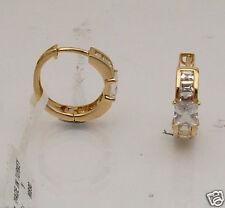 Earrings Real 14K Yellow Gold 3.37gr Princess Cut Ring Style Huggie Hoop