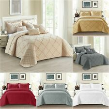 3 PCs Quilted Bedspread Embossed Comforter Set Single Double King & Pillowcases