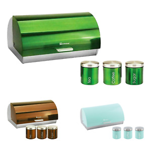 4 Piece Set Stainless Steel Bread Bin With Cannisters Sugar Tea Coffee Roll Top