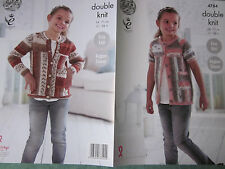PATTERN ONLY. King Cole pattern 4784. Girl's Cardigans in 2 styles.