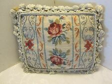 Handmade Floral Needlepoint wool PETITE POINT Cushion Feather insert velvet