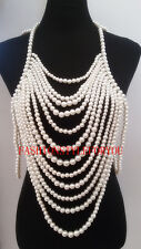 Fashion Style PE09 Women Imitation White Pearls Multi-layers Beads Body Chains