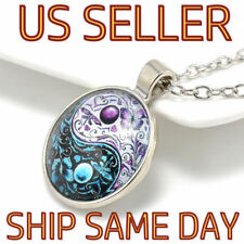 NEW Glass Tibet Silver Chain Pendant Necklace Ying Yang Butterfly Cabochon