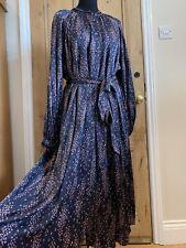 M&S PER UNA Dark Floral Satin Midi Tea Dress Size UK 20 Long Sleeves NWT RRP £55
