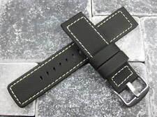 22mm Soft Rubber Diver Strap Black Watch Band White Stitch NAVITIMER Maratac