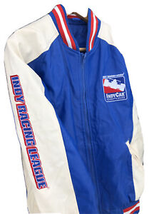 NWT 90s Vtg FX Leather Jacket Official Indy Racing League Blue White Men XS NEW
