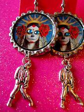 Day Of The Dead Sugar Skull With Walking Dead Zombie Dangle Charm Earrings #47