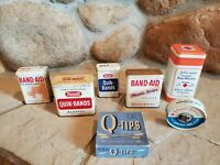 Vintage Lot of (7) Band, Quik Bands Rexall, Johnson's Baby Powder and Q-tips