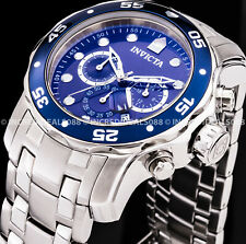Invicta Men Pro Diver Scuba Chronograph Blue Dial Silver Bracelet SS Watch 0070