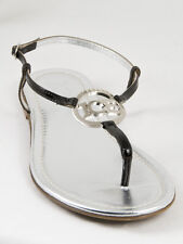 New  Iceberg Dark Brown Patent Leather Sandals Size  37.5 US 7.5