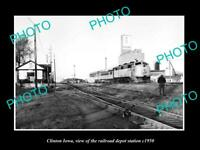 OLD POSTCARD SIZE PHOTO OF CLINTON IOWA THE RAILROAD DEPOT STATION c1950