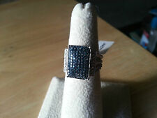 Blue diamond pave ring .50 ctw,  solid .925 Sterling size 6