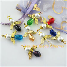 8Pcs Gold Plated Wings Dancing Mixed Angel Charms Pendants 23x29.5mm