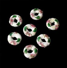7 Flowers White Cloisonne 15x4mm Pi Circle Beads 8637A