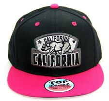 CALIFORNIA STATE SNAPBACK HAT BASEBALL CAP ADJUSTABLE 100% COTTON BLACK PINK