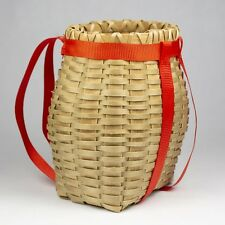 "Kahnawake Mohawk Miniature Woven Ash Basket Vintage Tourist Souvenir 4.25"""