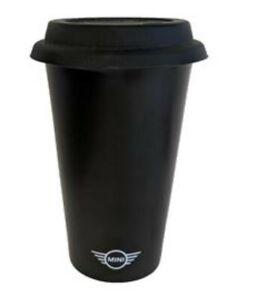 MINI Cooper Black Ceramic Travel Tumbler Mug w/ Rubber Lid Wing Logo 80902352799