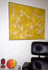 MID-CENTURY MODERN ABSTRACT OIL PAINTING MOD YELLOW GLOPPY 3D TEXTURED SURFACE