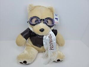 """Propwash 12"""" Teddy by Airzoo Plush Aviation Bear with Goggles,Jacket & Scarf NEW"""