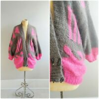 Large Vintage Fuzzy Mohair Womens Sweater Hot Pink and Brown Knit Oversized Card