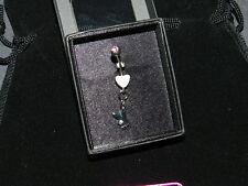 PLAYBOY crystal eye bunny pink heart belly navel NEW silver tone