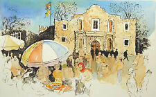 "William Papas ""The Alamo, Texas"" Hand Colored Signed Etching, Submit Best Offer!"