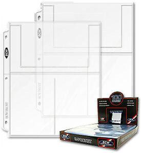 100 - 3 Pocket 4x6 Photo Postcard Page Sheet Protector BCW Pro3T - 3 ring binder