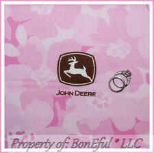 BonEful Fabric FQ Cotton Quilt VTG Pink Brown Flower John Deere Logo Deer Hawaii