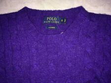 POLO RALPH LAUREN 100% CASHMERE CREWNECK SWEATER Purple MEN'S Small $350