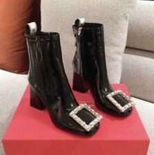 MW010550 - FASHION RHINESTONES SQUARE BUCKLE HIGH HEEL ANKLE BOOTS (SIZE 34-40)