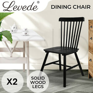 Levede 2x Dining Chairs Kitchen Table Chair Natural Wood Cafe Lounge Seat Black