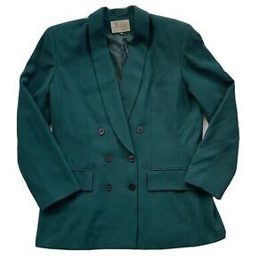 Vintage Women's Size 14 Le Suit Green Double Breasted Blazer Office wear Classy