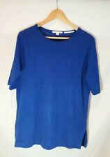 Trenery (Country Road)Top 8 Cobalt Blue Knit Jumper Organic Linen Short Sleeves