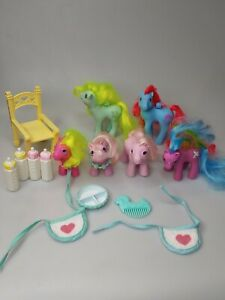 Vintage 1986 G1 My Little Pony Baby Lot of 6 with accessories MLP