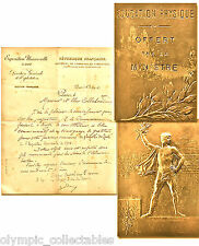 PARIS 1900 OLYMPIC GAMES BRONZE PARTICIPATION MEDAL FOR OFFICIALS + COPY LETTER