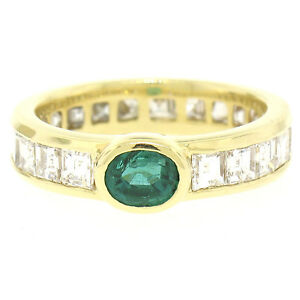FINE 18K Gold 4.4ctw Oval Emerald Solitaire & Square Diamond Eternity Band Ring