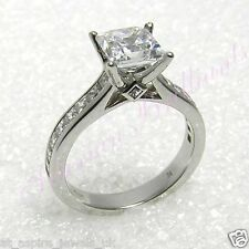2.09ct Princess Cut Channel Solitaire Diamond Engagement Ring 14ct White Gold