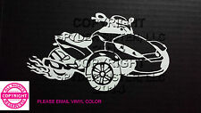 CAN-AM SPYDER RS WITH FLAMES WINDOW DECAL/BUMPER STICKER - 13 colors