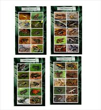 2020 POISON DART ARROW FROGS  8 SOUVENIR SHEETS MNH UNPERFORATED AMPHIBIANS FROG