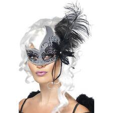 Womens Dark Angel Eye Mask Feathers Fancy Dress Masquerade Venetian Black Silver