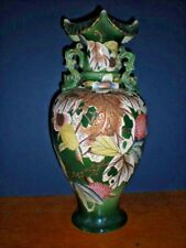 Antique Vase Large Green Floral Strawberry Hand Painted Gold Gilt