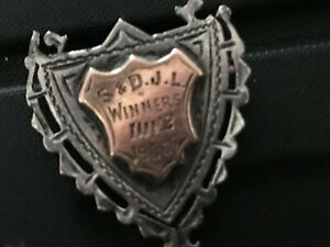 Silver & Shield  Fob with Double Gold Shield .HB Stamped Ref 004