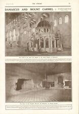 1918 ANTIQUE PRINT-WW1-Damas et Mount Carmel, Tombeau de St John,