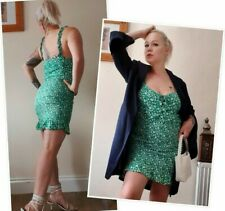 Vestido Mini Floral Verde Bershka Talla L