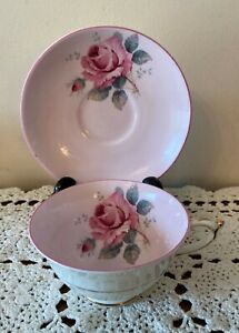 Paragon Tea Cup & Saucer light pink large cabbage rose Double Warranted England