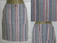 NEW Next Linen Blend Pink Stripe Summer Holiday Sun Skirt Casual Pockets 6-26