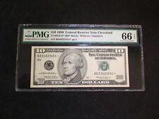 1999 Ten Dollar Fed Reserve STAR Note PMG GEM UNC 66 EPQ CLEVELAND $10 BILL!